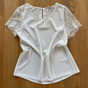 Beautiful Sheer White Top with Lace Sleeves